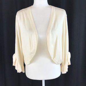 LANE BRYANT Cream Sweater Shrug Ruffle Sleeve 18